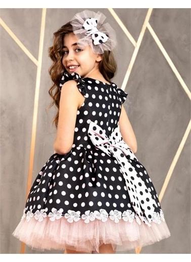 Riccotarz Kız Çocuk Etek Ucu Dantelli Yarım Kol Elbise Renkli